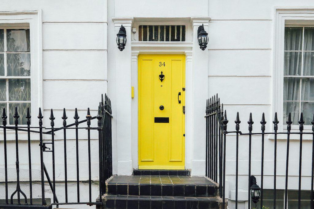 Yellow composite front door
